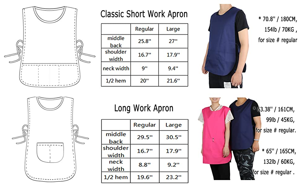 JONATHAN UNIFORM Classic Unisex Work Apron with 3 Pockets for Beauty and Medical Jobs Tabard