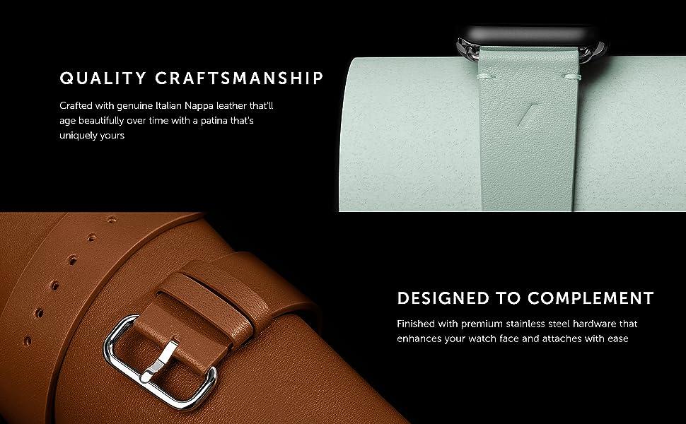 Apple Watch Strap Italian Nappa Leather Soft Nubuck Leather 38/40mm 42/44mm Classic Strap
