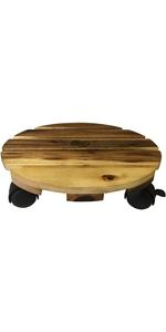 Round Wood Plant Caddy