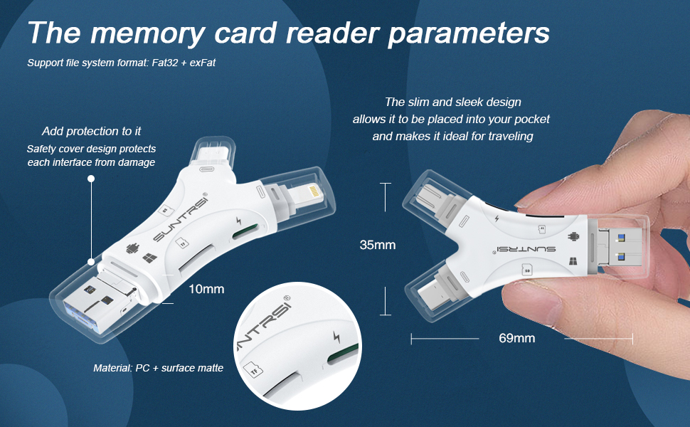 micro sd card reader  SD Card Reader for iPhone/ipad/Android/Mac/Computer/Camera,4 in1 Micro SD Card Reader Trail Camera Viewer, Portable Memory Card Reader SD Card Adapter Compatible with SD and TF Cards(White) 4538cbf4 a420 4716 936c b0e813df3525