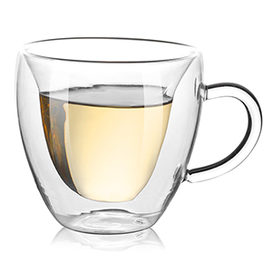 Double Wall Glass 5.4 oz Unique /& Insulated with Handle Ls opTImal Heart Shaped Double Walled Insulated Glass Coffee Mugs or Tea Cups 100/% Manual Blowing Clear