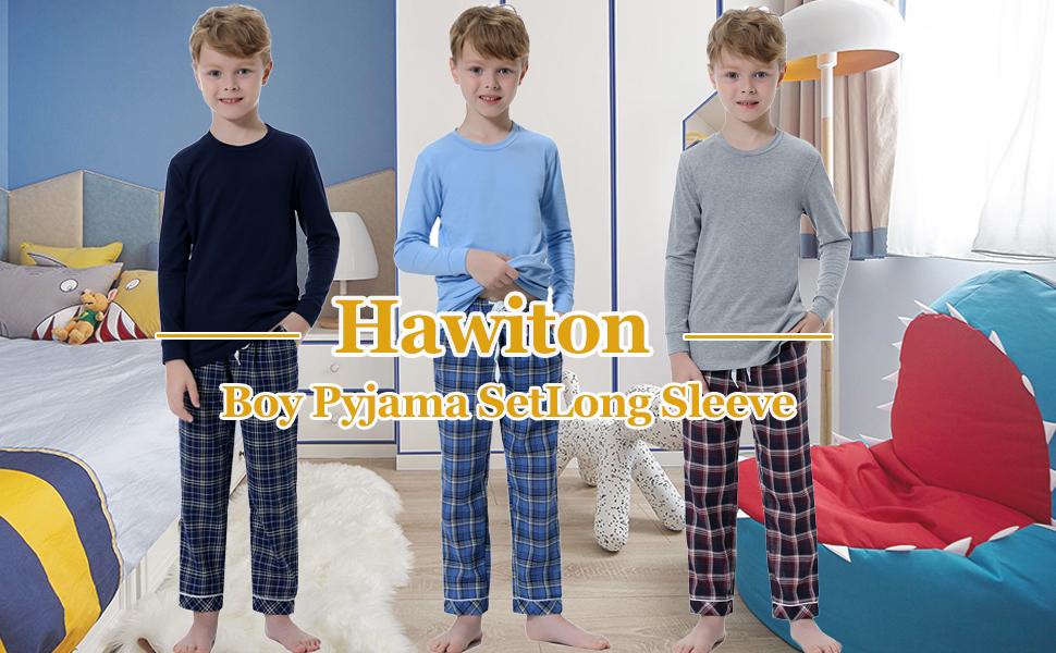 Hawiton Childrens Cotton Pajamas Set Toddler Kids Boy Cute Plaid Sleepwear Soft Long Sleeve Loungewear with Pocket