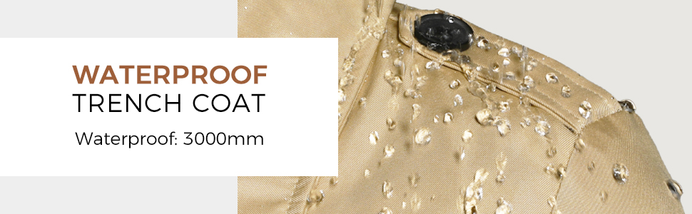 Women's Waterproof Double-Breasted Trench Coat