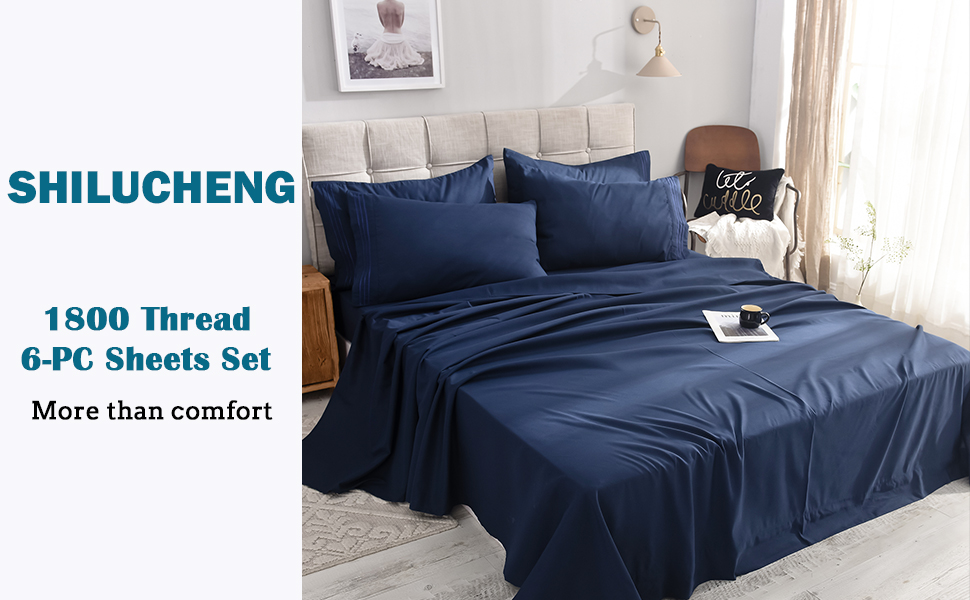 California king 6-Piece Bed Sheets Set Microfiber 1800 Thread Count Percale | 16 Inch Deep Pockets