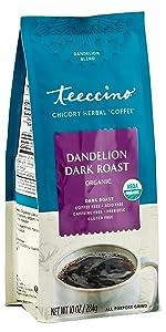 Teeccino Dandelion Dark Roast Herbal Coffee is a certified gluten free, healthy coffee alternative