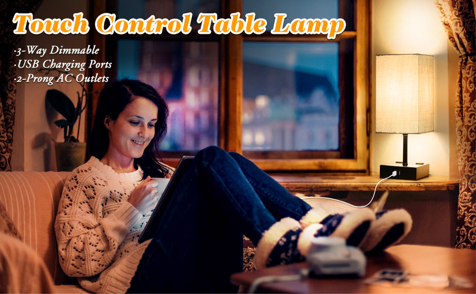 3-way touch control dimmable table lamp grey desk lamp gray nightstand lamps 6w led edison bulbs