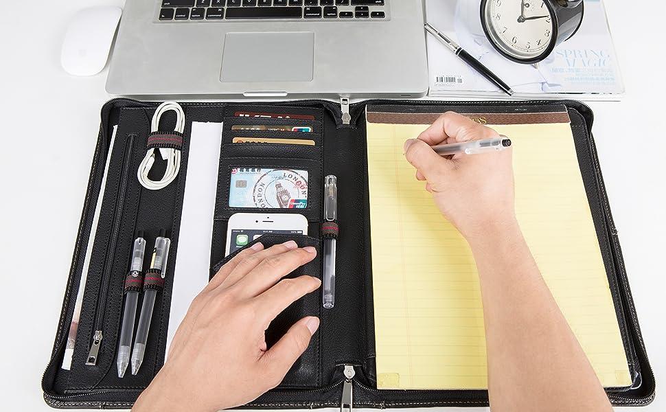Echtleder Konferenzmappe mit Rei/Ã/Ÿverschluss f/ür Samsung 9.7,Aktenmappe,A4 Padfolio Portfolio Schreibblock Gesch/äftsmappe mit iPad-Halter,Geschenk,Schwarz