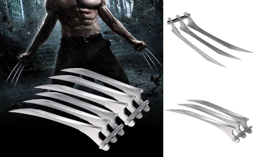 LEAMER 2 piezas 25,5 x 9 cm de Wolverine garras de pl/ástico Wolverine Claws adecuado para Halloween fiestas de disfraces