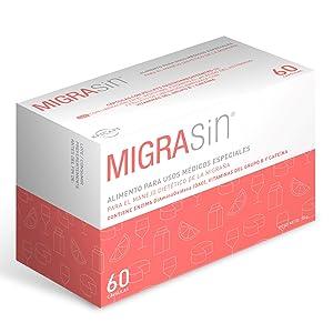 MIGRASin 60 cápsulas con pellets gastrorresistentes – Alimento para el tratamiento dietético de la migraña y cefaleas vasculares ocasionadas por ...