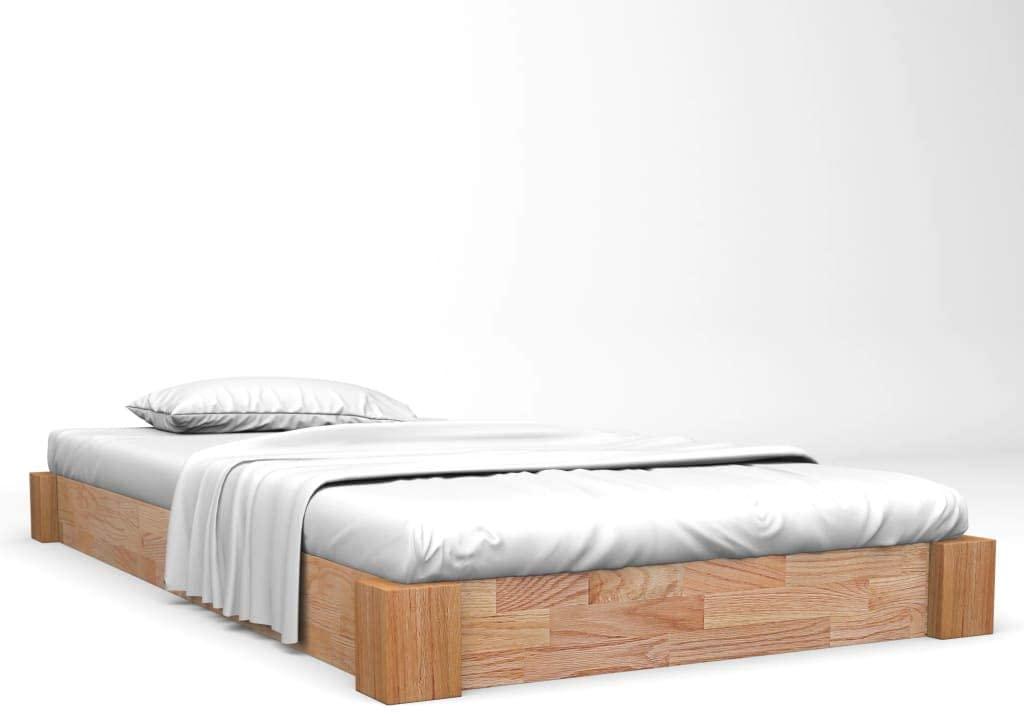 vidaXL Madera Maciza de Roble Estructura de Cama Marco Somier Mueble Dormitorio Habitación Hogar Cuarto Dormir Decoración 120x200 cm