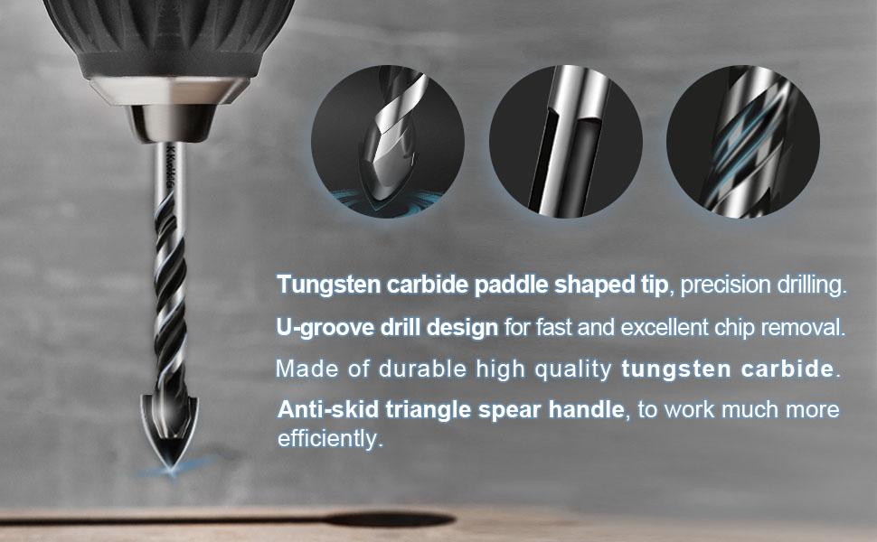 Masonry Drill Bits Glass Ceramic Marble Plastic Brick Tile Wood Tungsten Triangle Alloy