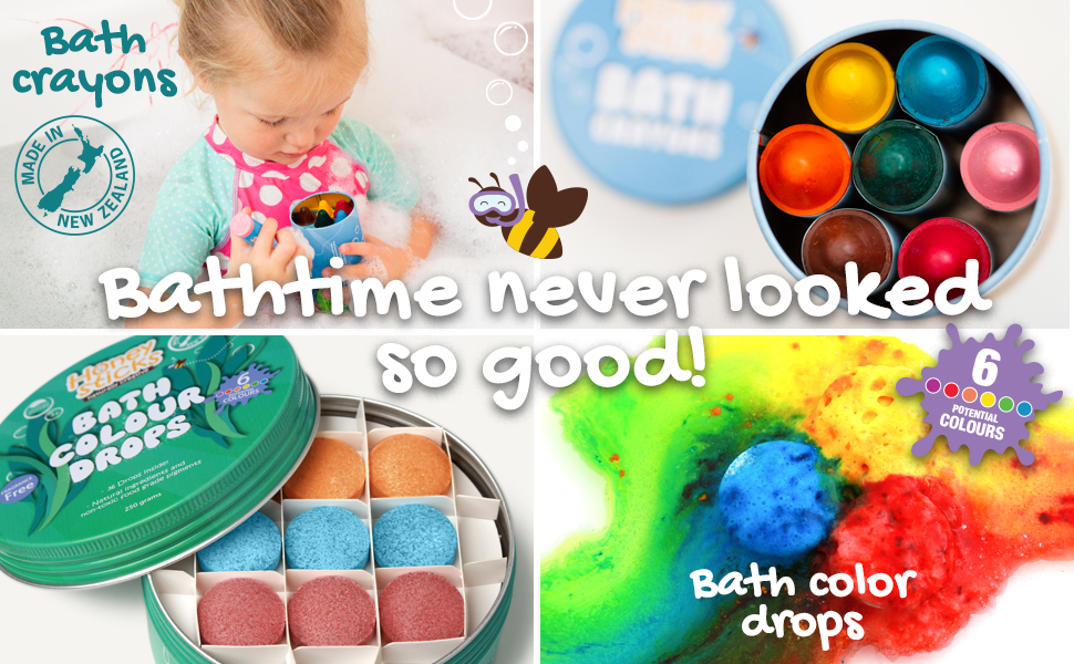 Honeysticks Natural Bath Color Drops for Kids – Natural and Food Grade  Ingredients – Great Bathtime Toys Gift – Fragrance Free – 36 Drops