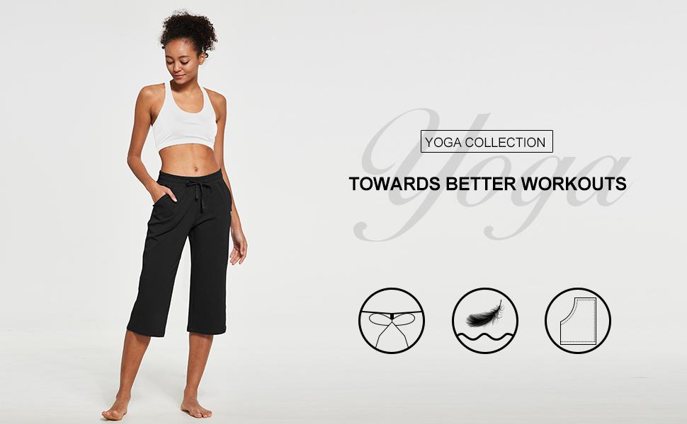BALEAF Womens Active Yoga Lounge Capri Pocketed Crop Pants