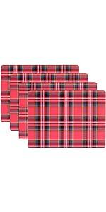 KAF Home Festive Plaid Print Cork Backed 4 Piece Place Mat Set