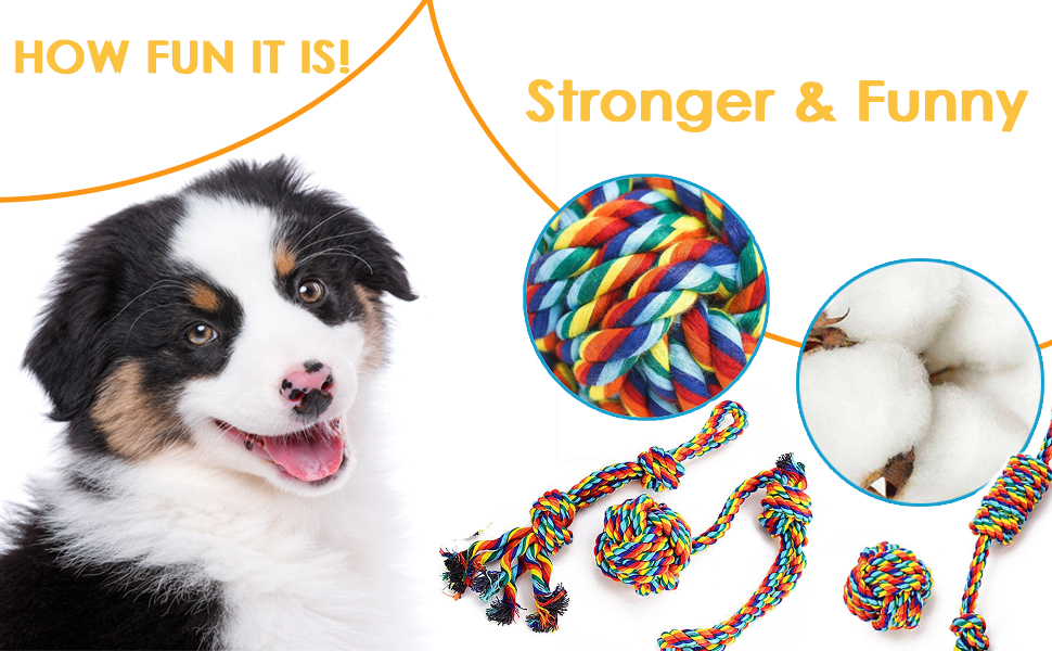 Dog Rope Toys Set Small Puppy Cotton Knot Chew Interactive Beneficial Mental Health Dental Teeth