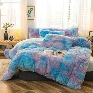 plush shaggy duvet cover faux fur bedding set