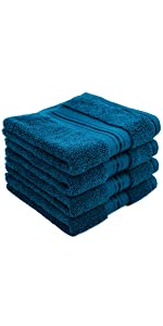 peacock blue washcloths