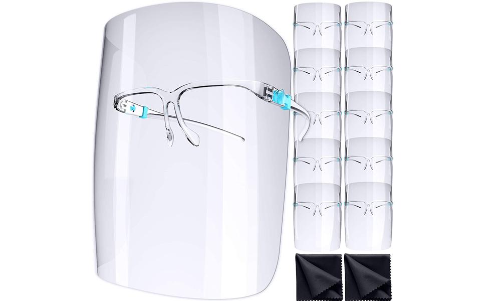 50 Packs 50x Face Shield Protection Anti-Splash Face Cover Anti-Fog Glasses