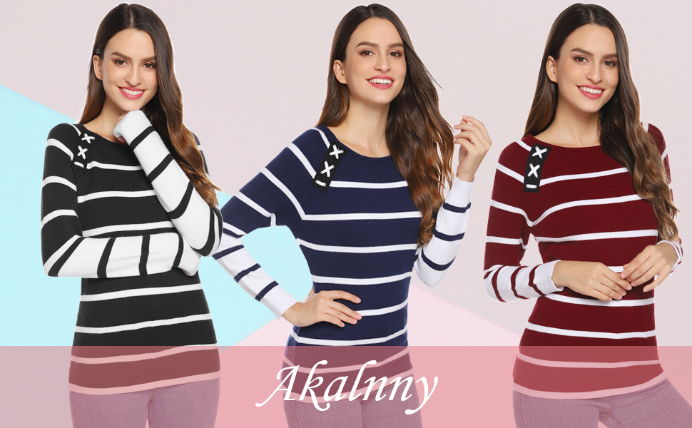 Akalnny Pull Femme Hiver Marin Col Rond Rayures Manches Longues Moulant à la Mode Haut Tops Horizontales Coupe Slim Casual S XXL