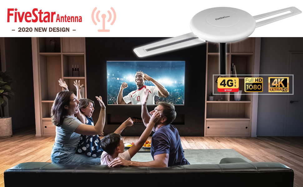 Five Star HDTV Antenna - 360° Omni-Directional Reception Amplified Outdoor TV Antenna 200 Miles