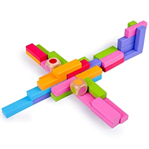 Juego de apilamiento en madera Torre de remolinos Torre de Pisa Bloques de construcción Juego de dominó 4 en 1 Juguetes de aprendizaje Montessori Juego familiar Juegos de Navidad para niños y