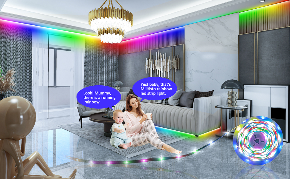 Luz Led Arco Iris Militisto Tiras App Controle Dreamcolor Rgbic Fita Led Ligh Ebay Placing them behind furniture like a couch or headboard imparts a playful glow to led strip lighting is also ideal for illuminating areas of your home like staircases for added safety and visibility. ebay