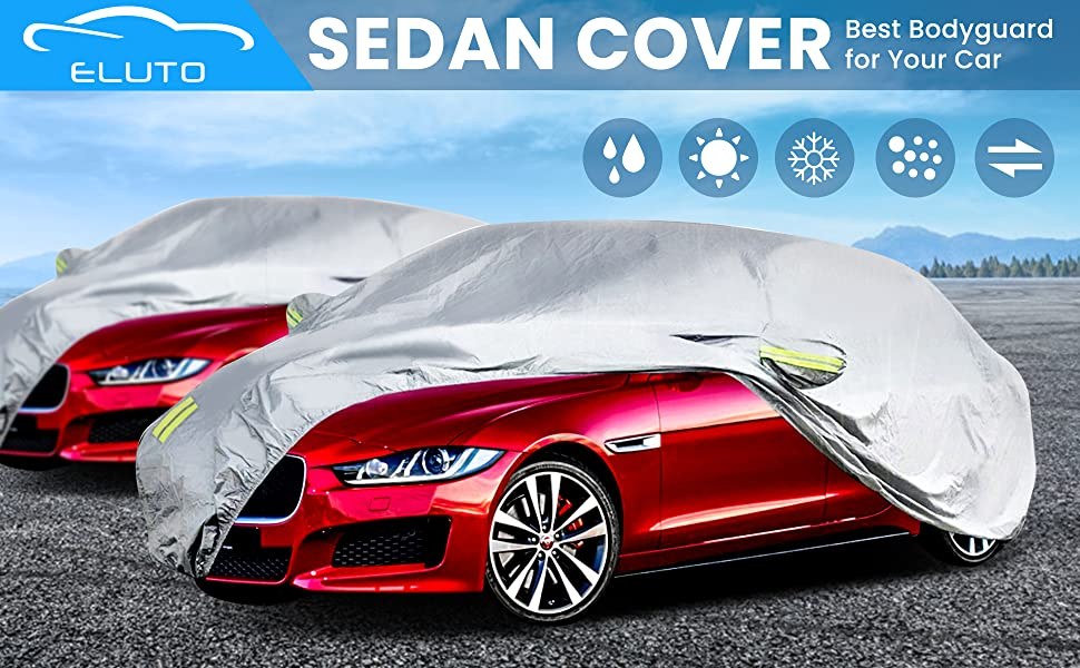 ELUTO Car Cover Outdoor Sedan Cover Waterproof Windproof All Weather for car