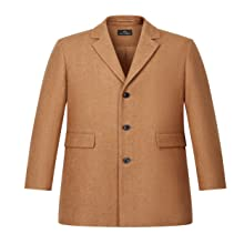 AIYIMEI Men's Classic Notched Collar Single Breasted Wool Blend Padded Coat…