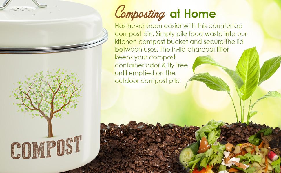 compost bin kitchen bucket countertop counter pail indoor charcoal filter bins filters