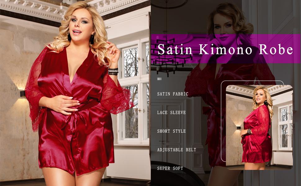 satin kimono robe for women short bathrobe plus size