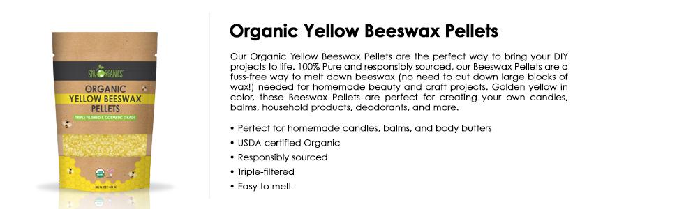 organic beeswax, beeswax pellets, easy to melt, diy, candle making, diy soap, diy lip balm, wax pure