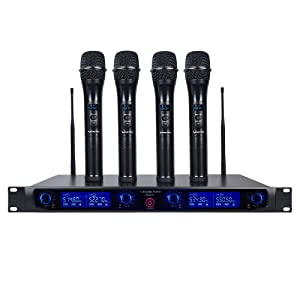 NESO-F4HH Sound Town 4 Channels Professional UHF Rack Mountable Wireless Microphone System