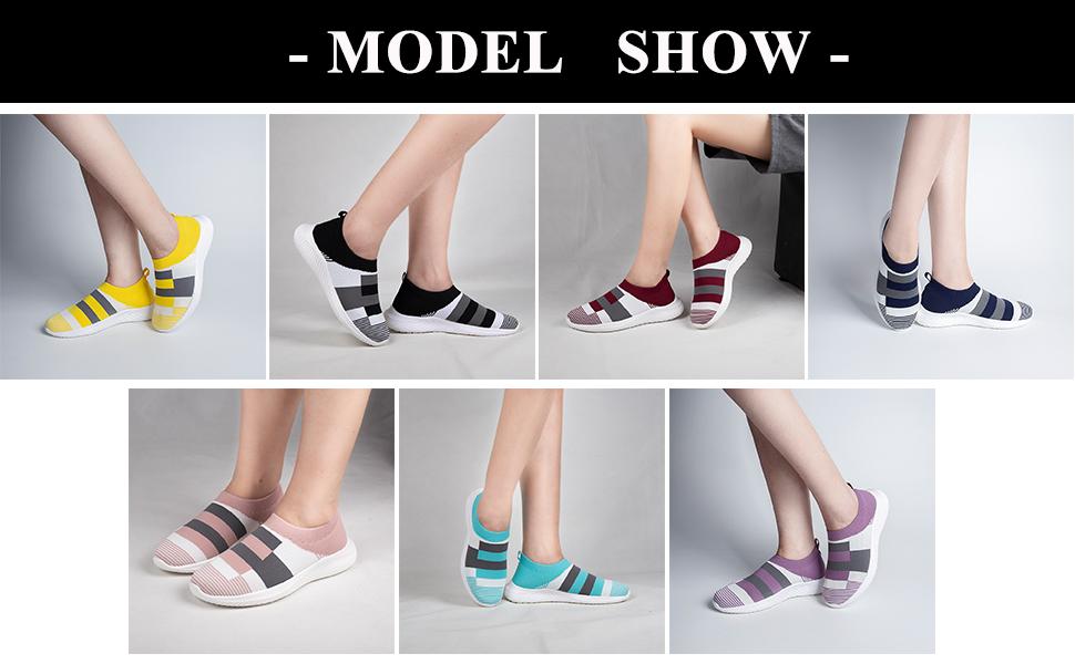 women casual walking shoes fashion purple sock sneakers yellow stylish elegant office nurse shoes