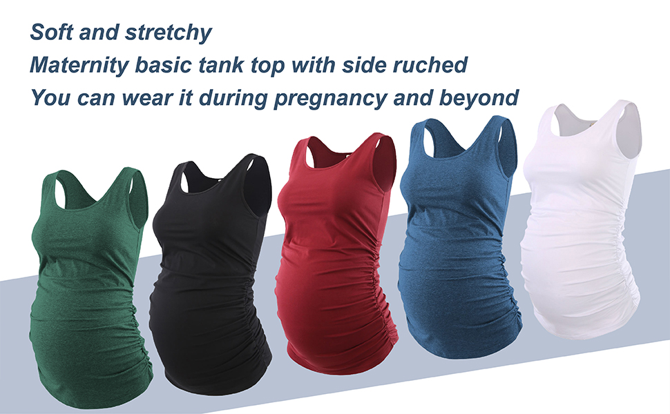 Womola Womens Basic Layering Maternity Tank Top Pregnancy Shirts Scoop Neck Sleeveless Solid Side Ruched Vest