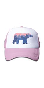 mesh snpaback trucker boys girls hat cap cute baby bear wild camping trip hiking running