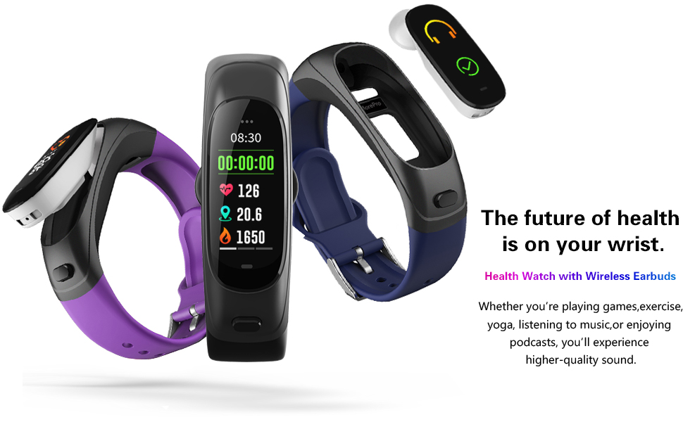 fitness tracker with bluetooth earbud