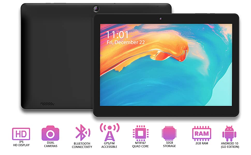 Innovate 10 tablet front and back, IPS HD Display, Dual Cameras, 2GB RAM, 32GB Storage, Android 10OS