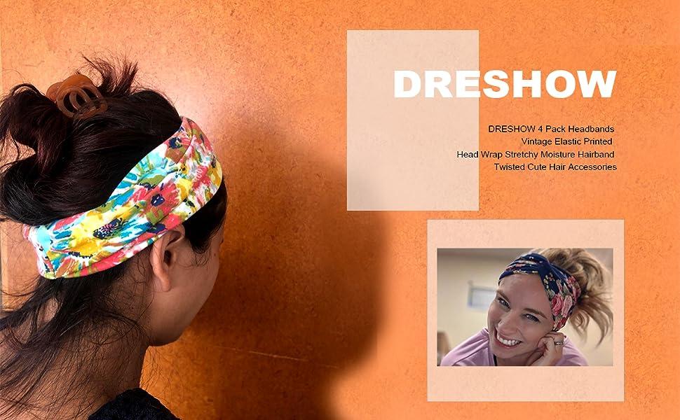 Dreshow 4 Pack Turban Headbands For Women Hair Vintage Flower Printed Cross Elas