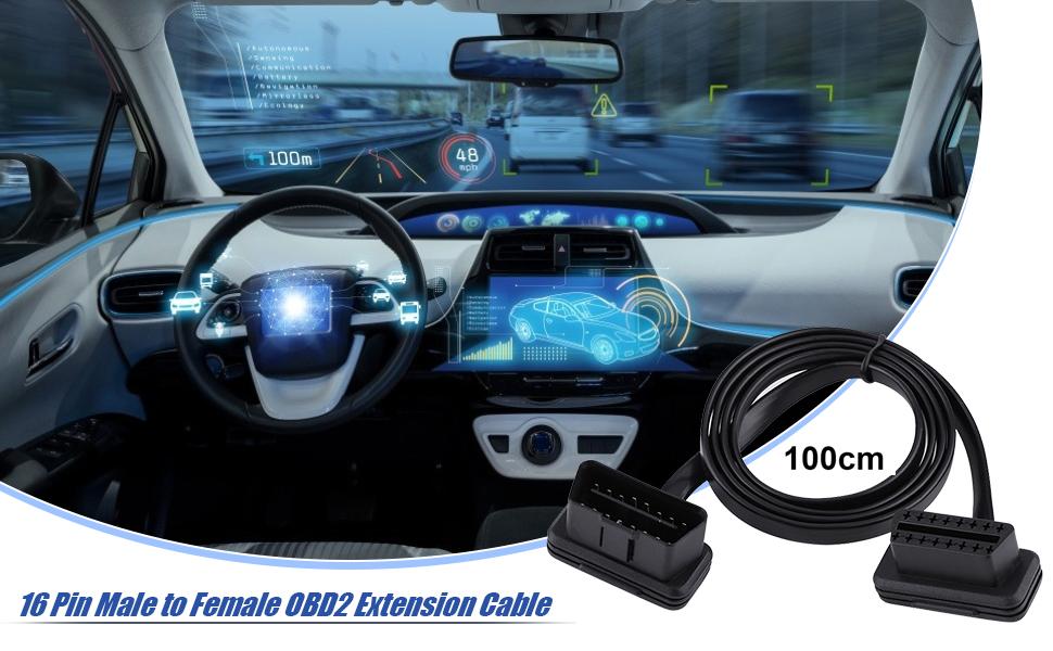 16 Pin Stecker Auf Buchse Obd2 Kabel Premium Abs Material Diagnose Verlängerungskabel Überlegene Flexibilität 30cm Auto