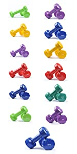 vinyl dumbbells pair, rubber dumbbells for women, coloured dumbbells, dumbbells pair, weights