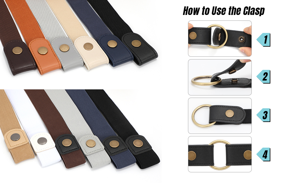 Buckle Free Comfortable Elastic Belt for Women or Men Buckle-less No Bulge No Hassle Invisible Belts