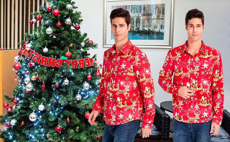 uideazone Camisa de Navidad para hombre, camisa de Navidad, camisa de manga larga