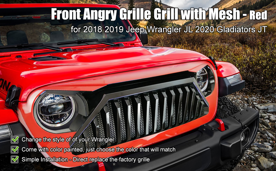 Red angry grill for wrangler jl