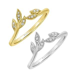 Diamond Leaf Ring for Women Wedding Band