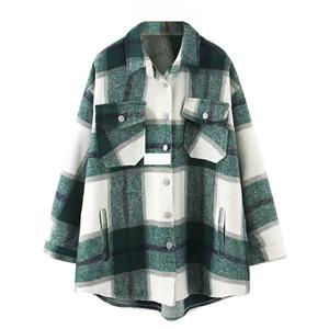 women plaid long sleeve shirt jacket casual wool blend button down shacket shirts coat Christmas