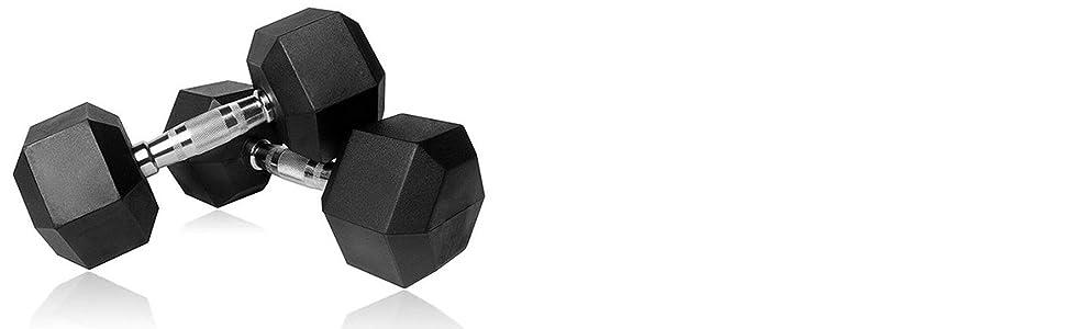 hex weights dumbbells, professional dumbbells, pro-grade dumbbells heavy duty black rubber coated