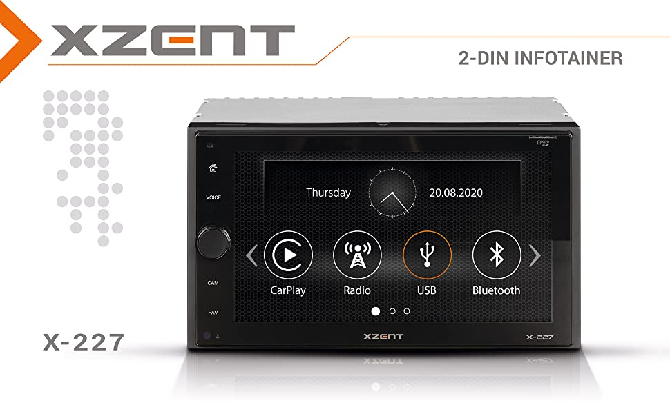 Xzent X-227: 2-DIN Infotainer mit DAB+, Apple Car Play