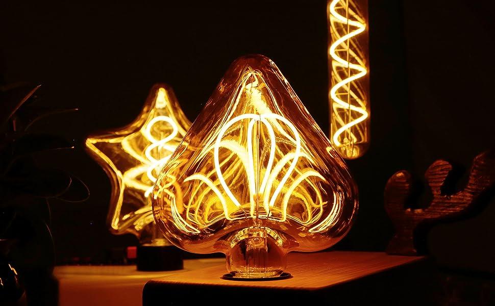 Edison Vintage Gl/ühbirne E27 GBLY Dimmbar Dekorative Antike Lampen 4W Retro Edison Gl/ühlampe Warmwei/ß 2200K Filament Bulb Ideal f/ür Nostalgie und Retro Beleuchtung im Haus Caf/é Bar Restaurant