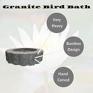 granite bird bath, garden, decor