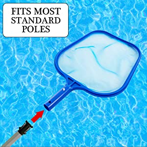 The leaf skimmer easily attaches and detaches from most standard telescopic pole
